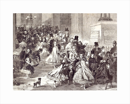 Children Returning from the Christmas Pantomime 1866 by Anonymous
