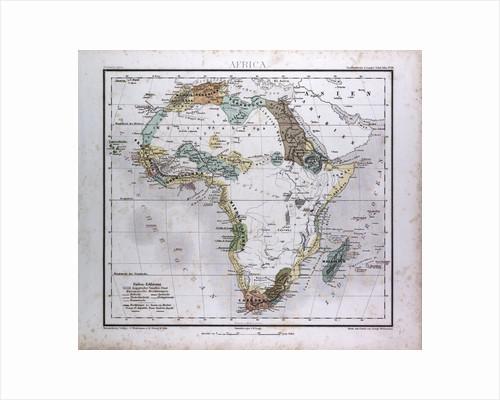 Africa Map, antique map 1869 by Th. von Liechtenstern and Henry Lange