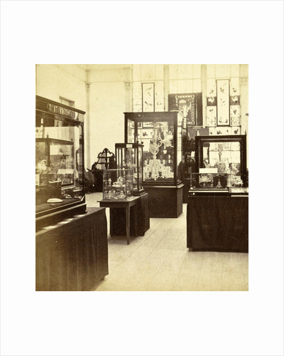 objects in display cases at the exhibition for National Industry and Art in the Palace of Industry, Amsterdam by Anonymous