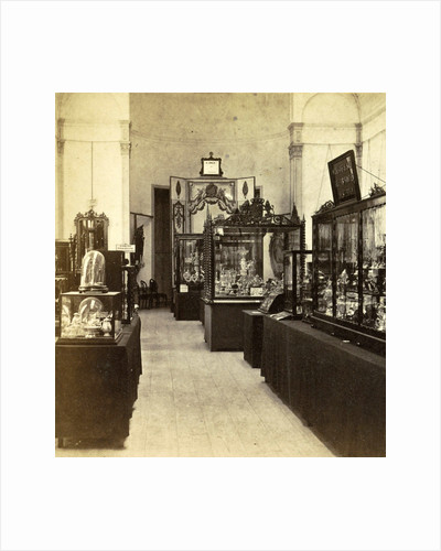 Display cabinets with objects in the exhibition of National Industry and Art in the Palace of Industry, Amsterdam by Anonymous