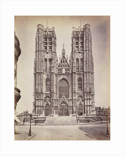 The facade of St Michael's and St. Gudula Cathedral, Sint-Michiel and Sint-Goedelekathedraal in Brussels, Belgium by Anonymous