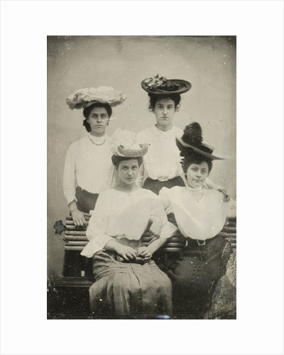 Portrait of four young women with hats by Anonymous