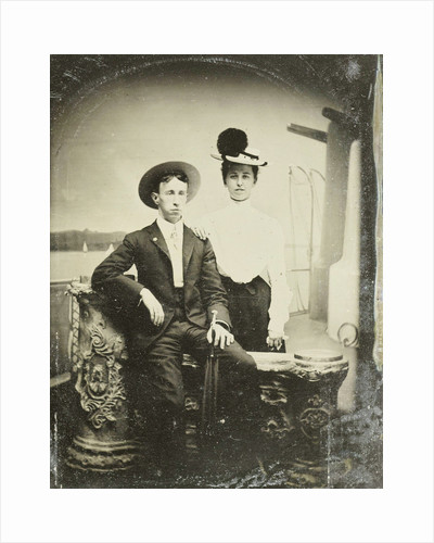 Portrait of a man and a woman, standing and sitting in front of a painted backdrop, deck by G.W. Stevens