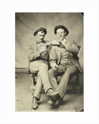 Portrait of two men, one of whom gave another drink from a bottle into a glass by Anonymous