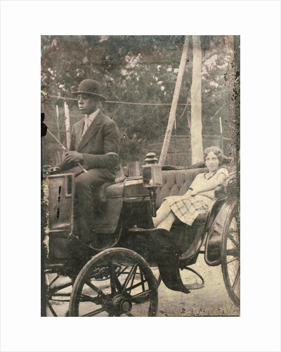 Woman sitting in a carriage, with the buck an African-American driver by Anonymous