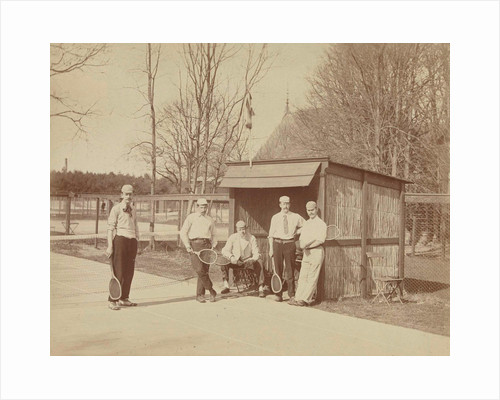 Group portrait of five men with tennis rackets on tennis court, second from right Henry Pauw van Wieldrecht by Henry Pauw van Wieldrecht