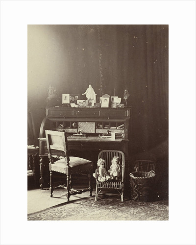 A room with writing table in mansion in Utrecht The Netherlands, on the desk are pictures and statues by Henry Pauw van Wieldrecht