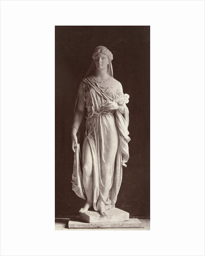 Marble statue of a woman in robe and veil over her head, in her left hand she carries a bouquet of flowers by Louis-Emile Durandelle