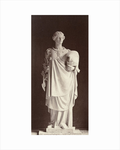 Marble statue of a woman dressed in warrior costume with a helmet in one hand and the other a palm by Louis-Emile Durandelle