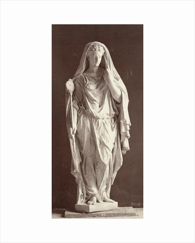 Marble statue of a veiled woman in a high-necked dress with a staff in her right hand by Louis-Emile Durandelle