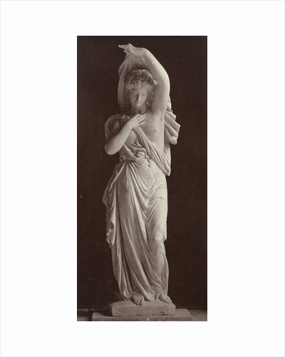 Marble statue of a woman in gown with partially bare torsos by Louis-Emile Durandelle