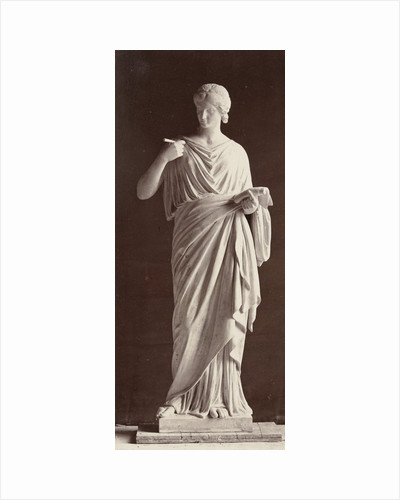 Marble statue of a woman in gown in her hands with a paper and a pen by Louis-Emile Durandelle