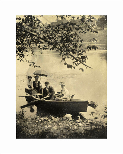Two men and two women in a rowboat on a lake by Anonymous