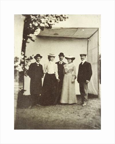 Two women and a man posing by Anonymous