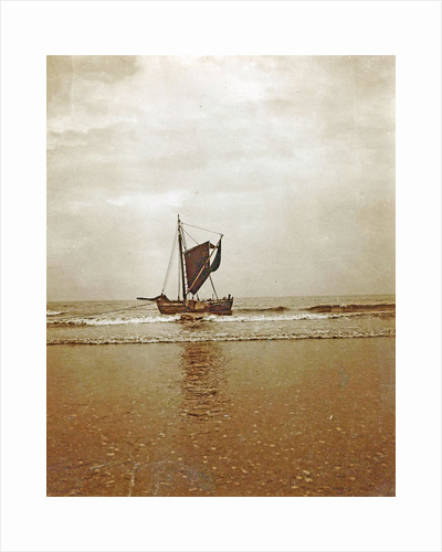 Sailing boat in shallow water on the coast, North Sea, The Netherlands or Germany by Anonymous