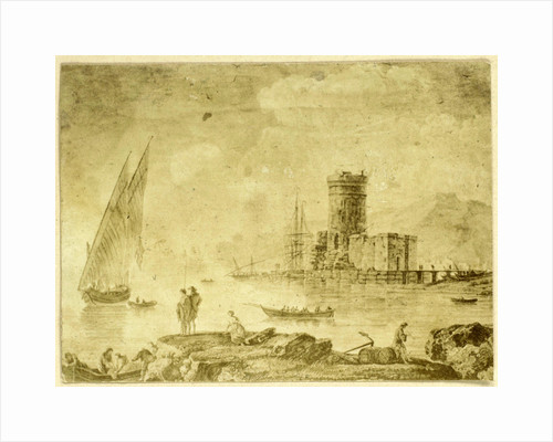 Drawing 'La mer calme with ship on calm water by Eduard Isaac Asser