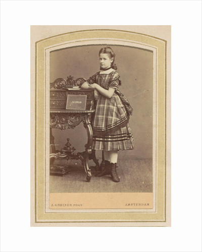 Portrait of a girl in a dress with tartan at a desk with books by Albert Greiner