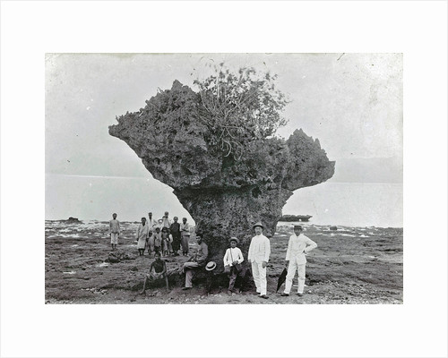 Group of people at rock formation Stone Hat (Batu Tjepeh) in Ambon, Indonesia by Anonymous