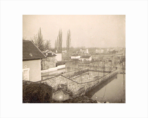 Houses and gardens in a flooded suburb of Paris, France by Anonymous