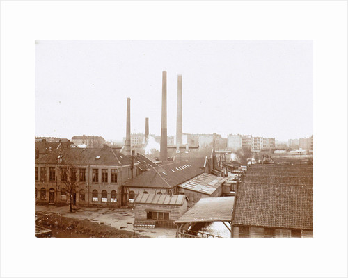 Exterior of factory buildings with chimneys by Anonymous