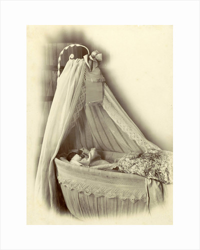 baby in a crib with a sky by Anonymous
