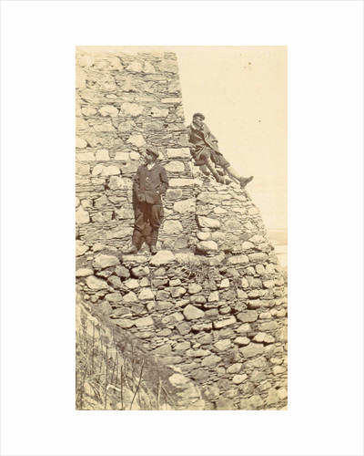 Two men on a wall of the fortress of Pharijong by D.T. Dalton