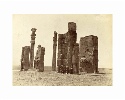 Group of men posing at the Gate of all Nations (Gate of Xerxes) at Persepolis Iran by Antoine Sevruguin