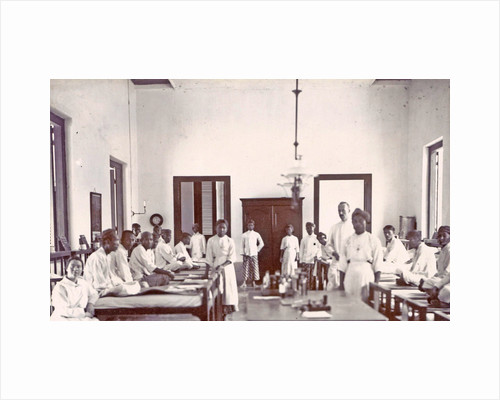Ward with male patients and staff at a hospital in the Dutch East Indies, Indonesia by Anonymous
