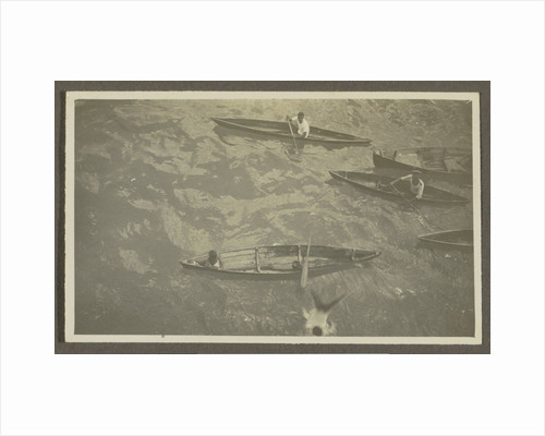 Boys in wooden boats by Anonymous