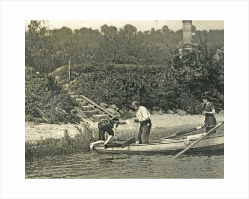 Three men in a rowboat by Anonymous