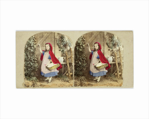 Little Red Riding Hood knocks on grandmothers door by The London Stereoscopic Company