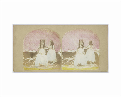 Scene in boudoir: girl combs hair of another girl in crinoline by Anonymous
