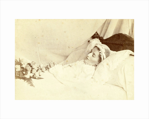 Post mortem portrait of a deceased woman; she is wearing a hat and holding a bunch of roses and a rosary between her clasped hands by Anonymous