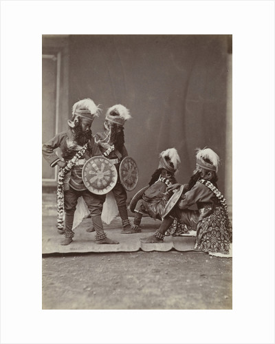 Studio Portrait of Java, Indonesianese boys dressed as warriors, Indonesia by Anonymous