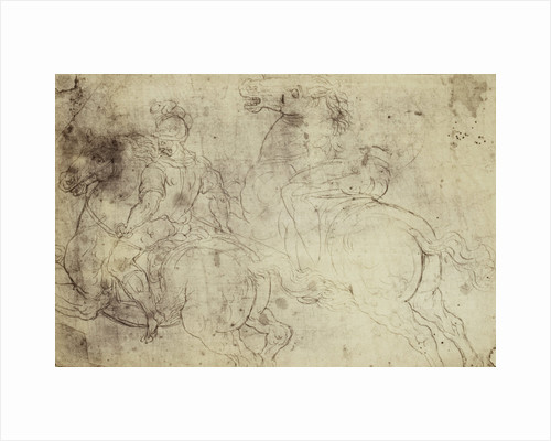 Drawing Raphael from Windsor Castle, study of two riders on horseback by Charles Thurston Thompson