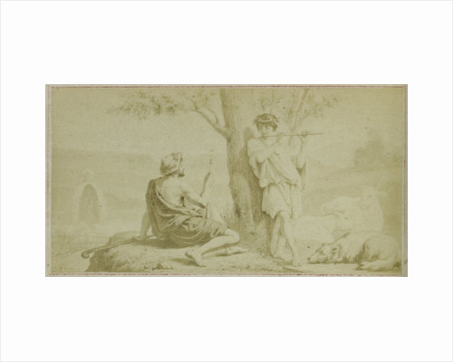 Virgil scene from the Bucolica, man and flute player by F. Barrias