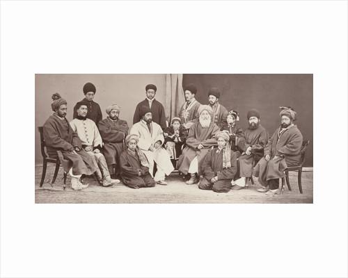 Group portrait of Afghan men and boys by John Burke