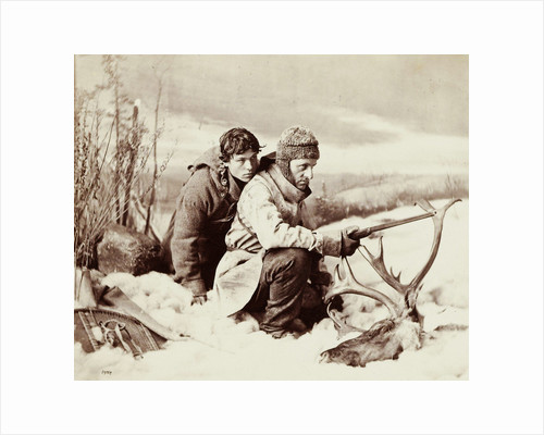 Two hunters in the snow in front of them a moose head by William Notman