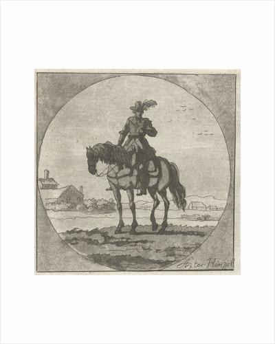 Horseman on horseback standing in medallion by Anthonie van den Bos