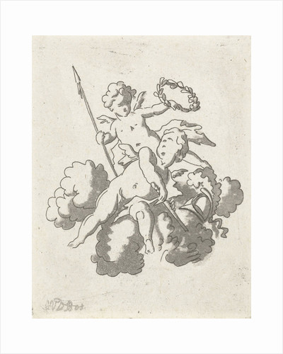 Two putti, Anthonie van den Bos by Jan Bulthuis