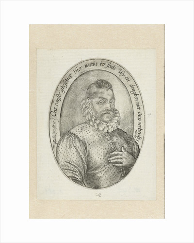 Oval man portrait at Half length by Hendrick Goltzius