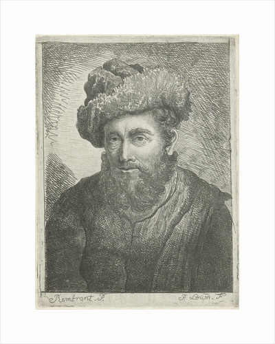 Portrait of an unknown bearded man with hat on his head by Pieter Louw