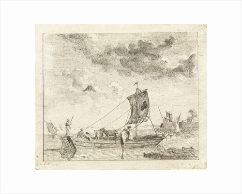 Flat barge with cattle by John Hubert Prince