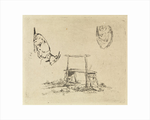 Study Sheet with reclining goat, a wooden bench and a drapery by Johannes Huibert Prins