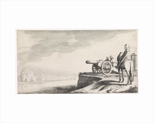 Horseman and two soldiers with a gun on a riverbank by Jan van de Velde II