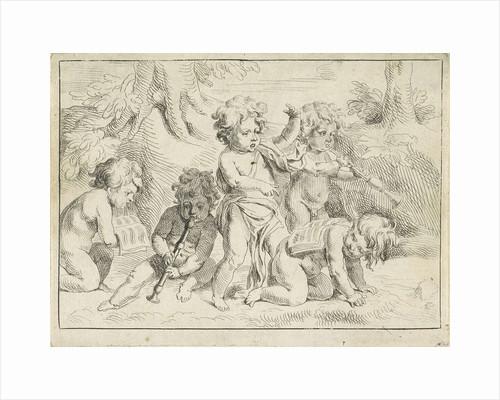 Five children playing music by Michiel Frans van der Voort