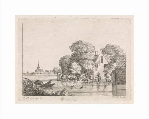 Right for a house, a man sits on a pier angling and a woman is standing, Left a village church, on the water a man in a rowboat in which a wicker trap by A. van de Velde