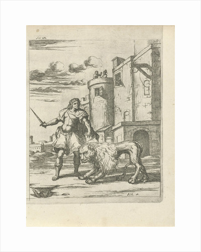 Henry, Count of Holstein tames a lion by Arnold Houbraken