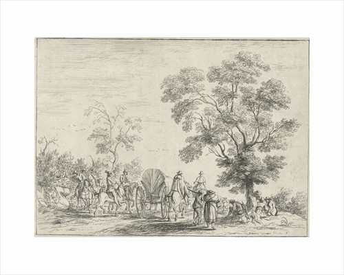 A landscape in which horsemen on a path in the middle a wagon by Robert van den Hoecke