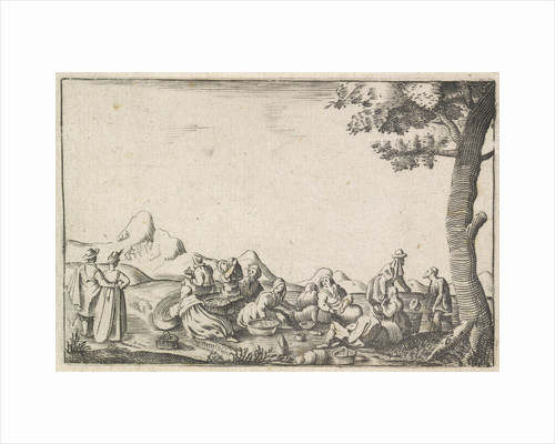 Men and women sit in a landscape with some baskets, They eat and drink, Left a couple right beside the tree a beggar by Monogrammist MW